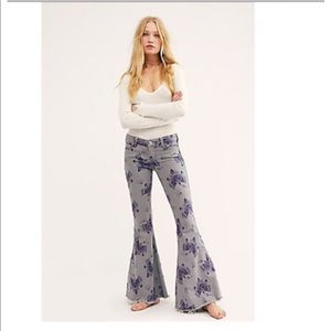 Free People Jeans Printed Extreme Flare Stretch